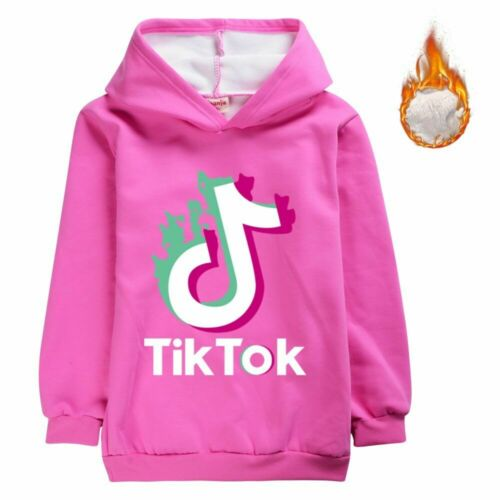 Tik Tok Children Spring Boys Girls Plush Hoodies Coat Sweatshirts Birthday Gifts