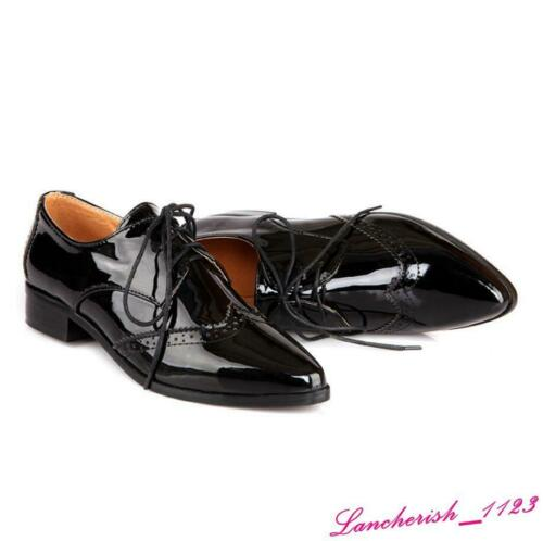 Details about  /Wing Tips Women/'s Brogue Pump Shoes Oxfords Pointed Toe Lace Up Breathable Retro