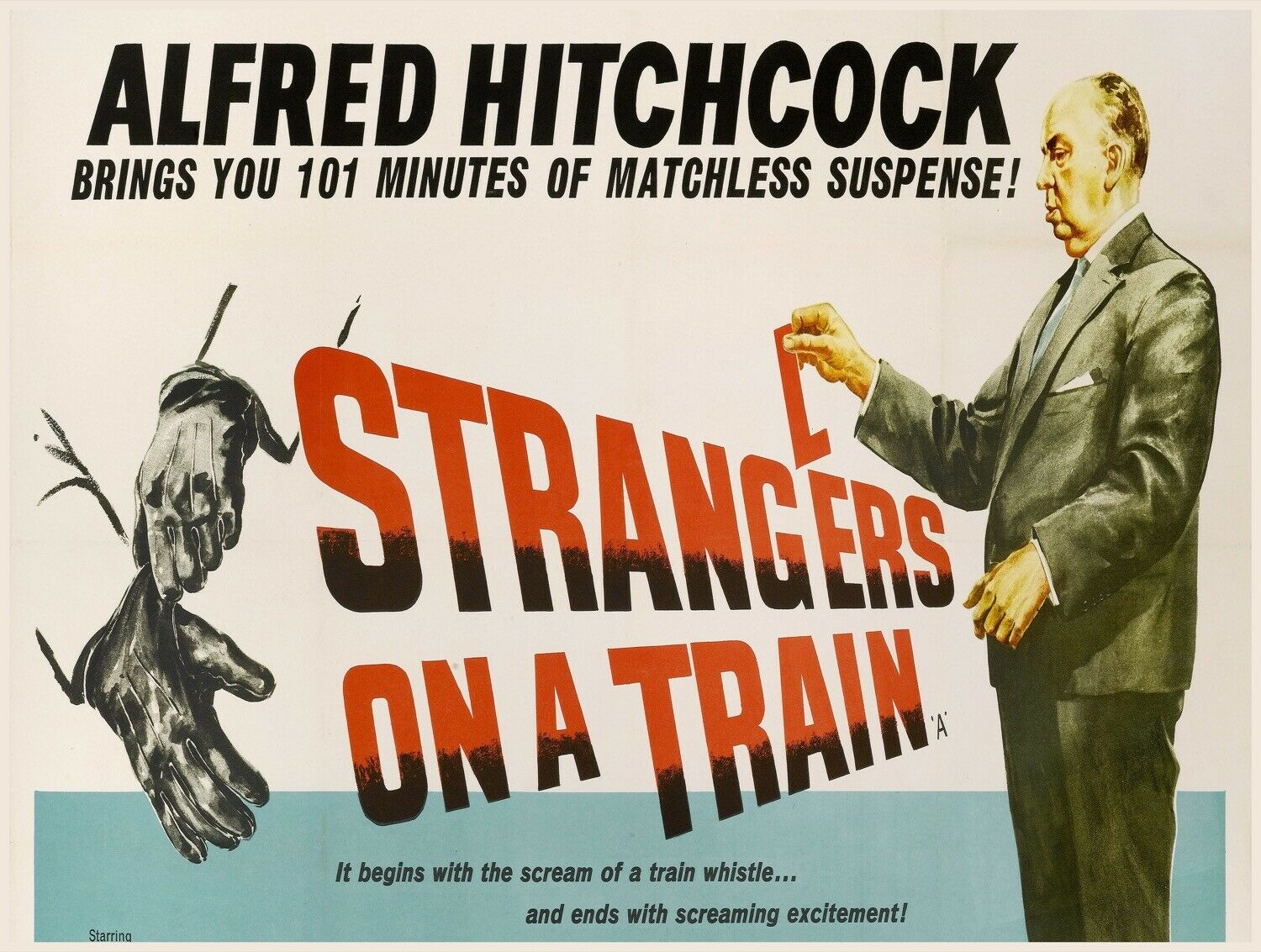 Decor Poster.Home interior design.Room wall print.Hitchcock Strangers train.6886