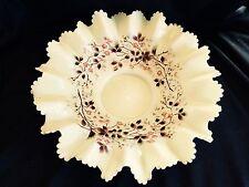 "Pretty Vaseline Custard Enamel Antique Victorian 12"" Brides Basket Fits 4"""