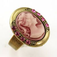 Antique Gold Vintage Style Cameo Ring Lady Pink Stone Crystal Stone Adjustable J