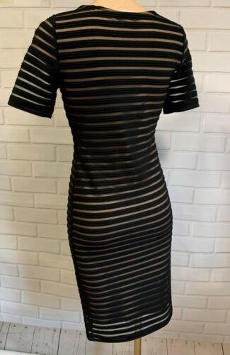 BEAUTIFUL BLACK NET NUDE ILLUSION DRESS SIZE 8-18