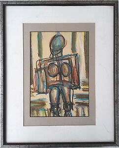 Mid-Century-Modernist-Painting-Study-of-a-Female-Figure-Signed-Rye