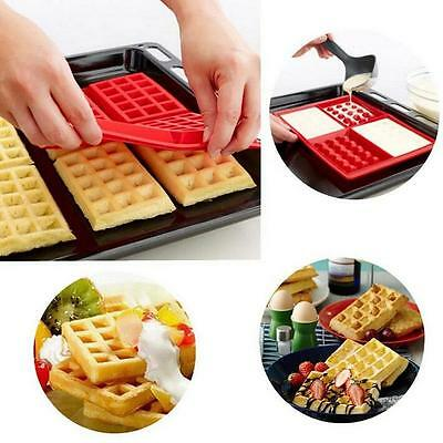 Safety 4-Cavity Waffles Cake Chocolate Pan Silicone Mold Baking Mould Kitchen I