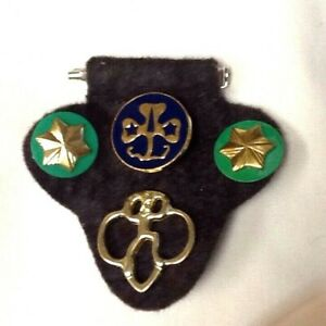BROWNIE-Girl-Scout-Uniform-TAB-w-4-OFFICIAL-PINS-1980-86-ONLY-RARE-SHAPE