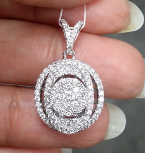 Steal-Deal-1-00-CTW-Genuine-Round-Cluster-Diamond-Halo-Pendant-Charm-14K-Gold