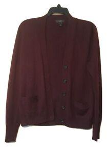 J-Crew-Womens-Medium-Cardigan-Merino-Wool-Maroon-Sweater-With-Pockets