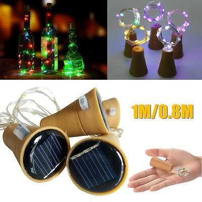 LED Solar Wine Bottle Cork Shaped Fairy String Light Night Lamp Party Xmas Decor