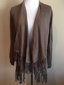 NWT-Women-039-s-Brown-Long-Sleeve-Chelsea-amp-Theodore-Fringe-Cardigan-Sweater-Small