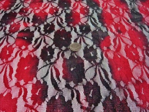2 COLOUR FLORAL SHIMMER LACE-BLACK//RED-DRESS//BRIDAL FABRIC-FREE P/&P