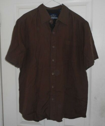 New NAT NAST 50s-60s Style Brown Traditional Button Front Back Loop Silk Blend M