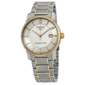 Tissot-T-Classic-Automatic-Titanium-Silver-Dial-Two-tone-Men-039-s-Watch