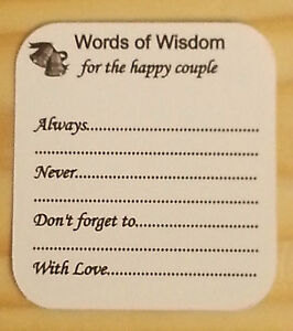 Wedding Guest Best Wishes Words of Wisdom Advice Favour Cards Thank ...