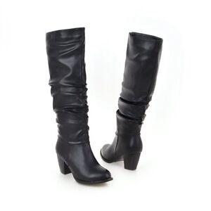 Boots-Damenschuhe-Blockabsatz-Stiefel-Slipper-Stiefel-Gr-34-48-High-Heel-Einfach