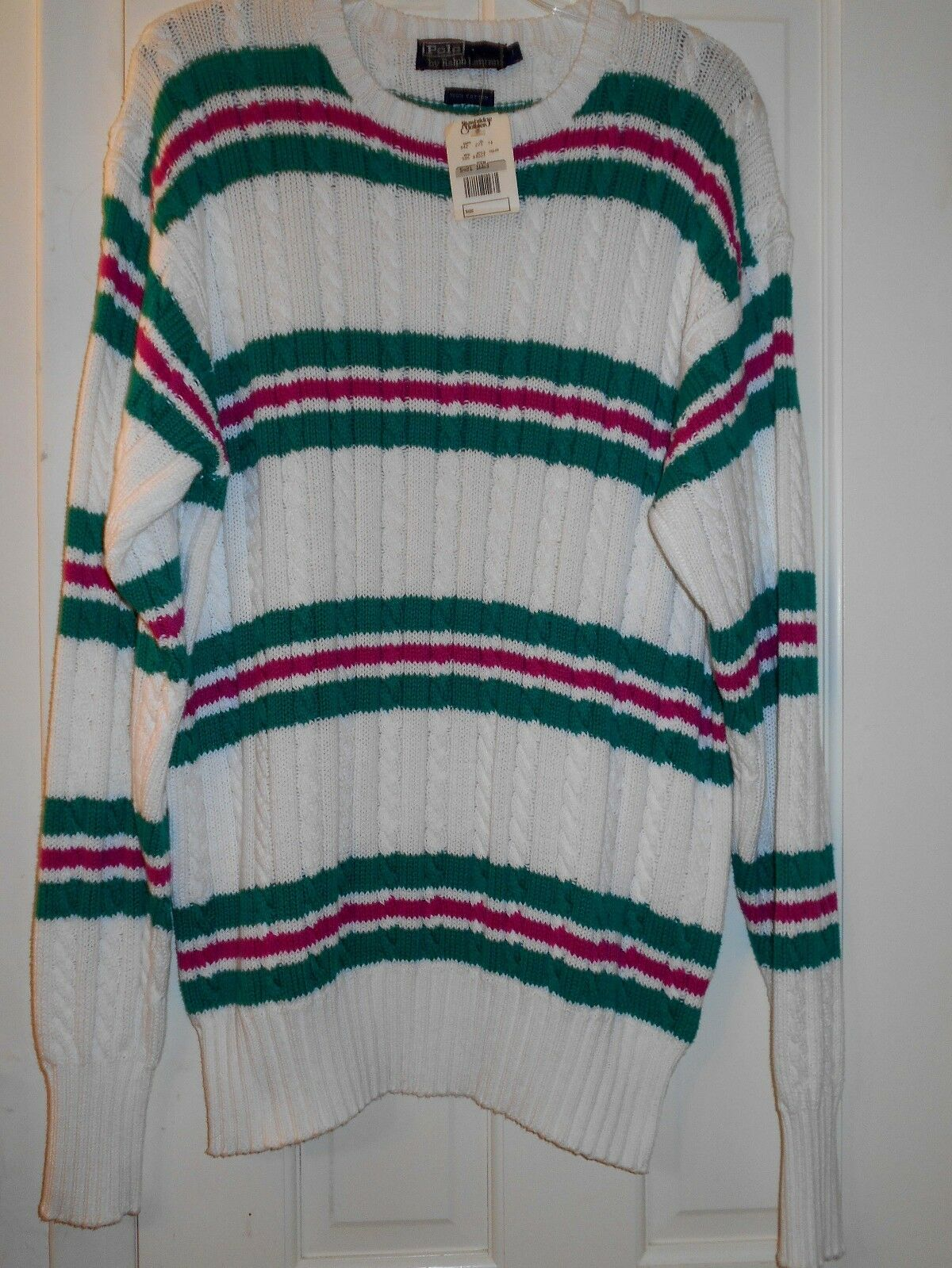 New  RALPH LAUREN POLO Pink Green Striped Cable Knit Cotton SweaterLSHIP