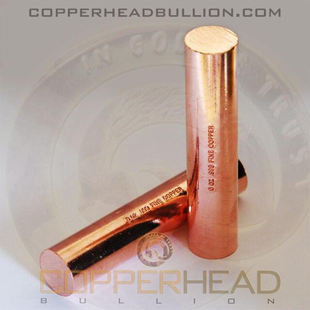 1 x 8oz Solid Copper Bullion Rod Half 1/2 Pound lb Shell Round Bar 5-10-16-20