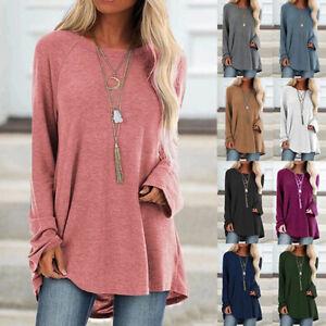 Womens-Loose-Long-Sleeve-Plain-Blouse-Autumn-T-Shirt-Pure-Tee-Casual-Ladies-Tops