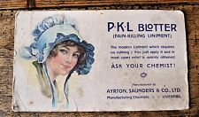Vintage Adverting Ink Blotter Card Ayrton Saunders Co Pain Killing Liniment PKL