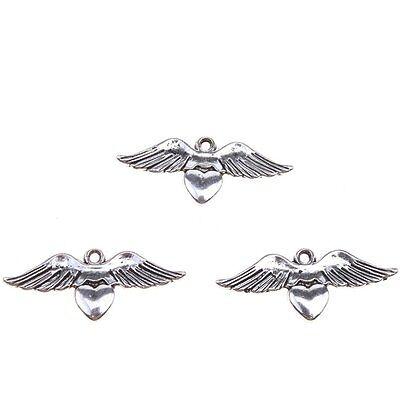 30pcs New Design Antique Silver Wing&Heart Shape Charms Zink Alloy Pendants BS