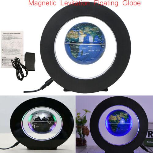 NEW 3.5 /'/' Magnetic Levitation Floating Globe World Map Tellurion LED Round T6D0