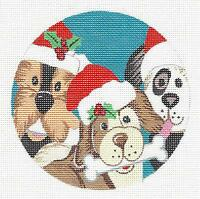 woof 3 Dogs By L.korsgaden Hp Needlepoint Canvas Ornament From Danji