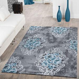 teppich modern glitzergarn vintage blumenpracht in t rkis grau wei ebay. Black Bedroom Furniture Sets. Home Design Ideas