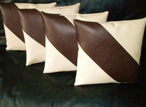 """4 Cream /& Brown Diagonal à rayures en cuir synthétique housses de coussin 16/"""" 18/"""" 20/"""""""