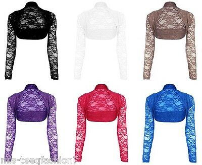 Womens Long Sleeved Floral Lace Bolero Shrug Top Ladies Cardigan Size 8-26