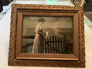 Antique-Victorian-Woman-Reading-Letter-Print-In-Ornate-Gesso-on-Wood-Frame