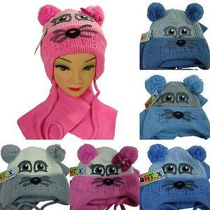 Chapeau-de-Bebe-Bonnet-Double-Echarpe-pour-Enfants-D-039-Hiver-Kit-Casquette-KK11