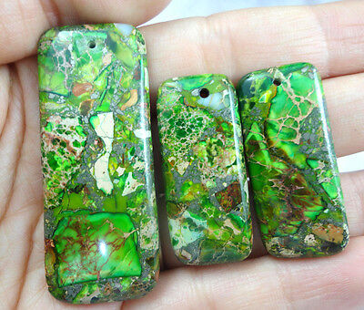 Unique 3Pcs Rainbow Sea Sediment Jasper & Pyrite pendant bead set pa1