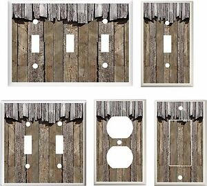 Barn Board Rustic Weathered Wood Image Light Switch Cover Plate Home