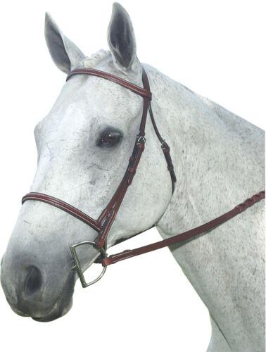 ENGLISH SADDLE WARMBLOOD LARGE SIZE HORSE SQUARE RAISED BROWN LEATHER BRIDLE