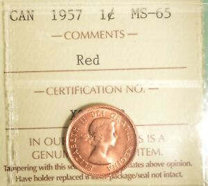 1957-Canada-Penny-Graded-ICCS-MS-65-RED