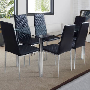 Modern Glass Dining Table Or Pvc Chairs Room Kitchen Lounge 2 4x High Back Chair Ebay