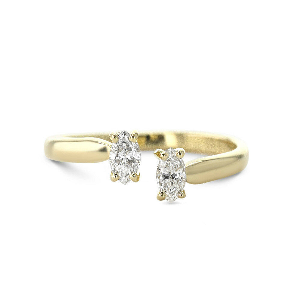 0.30 cts Marquise Diamond Pair Ring 10K Yellow gold