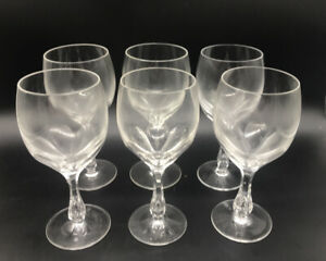 6-Antique-Josephinenhutte-Josair-Germany-Silhouette-Water-Goblets-Cut-Glass-Wine