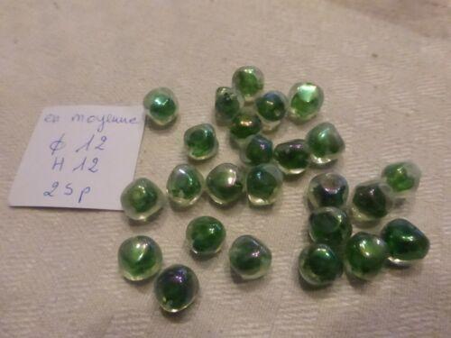 reflets 12mm lot de 25  superbe perle ancienne en verre verre transparent