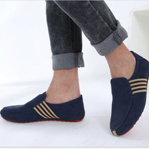 Mens-Casual-Suede-Leather-Slip-On-Driving-Moccasins-Loafers-Flat-Boat-Shoes