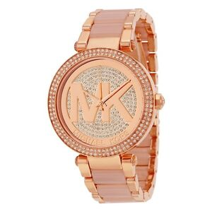 Details about NEW MICHAEL KORS MK6176 PARKER LADIES ROSE GOLD PAVE CRYSTALS WATCH ✔ 2 Y.WARRA