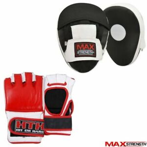 Boom Boxing Bag Gloves Punch Mitts MMA Fight Muay Thai Grappling Pad Training