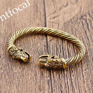 Image Is Loading Vintage Viking Dragon Head Bracelet Cuff Wristband Men