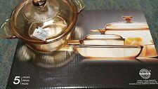 New Cookware Set Vision 7 Piece Corning Amber Glass Ware Pyrex Saucepan set