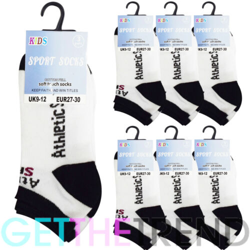 6 Pack Kids Socks Trainer Breathable Sports Pair Sports Comfortable Ankle UK 3