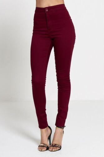 Donna Ragazze vita alta Extreme Ripped Blue Skinny Jeans Taglia 6 a 14