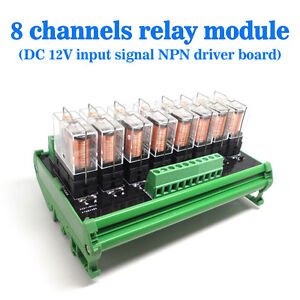 Omron-8-Relay-Module-Eight-Panels-Driver-Board-Socket-DC-12V-NPN