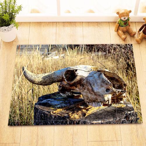 Western Cowboy Bull Crâne HERBE Non-Slip de Bain Tapis Porte Tapis Home Decor Tapis