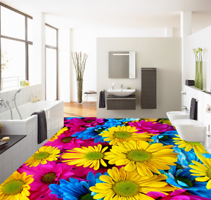 3D colord Flowers 54 Floor WallPaper Murals Wallpaper Mural Print AJ AU Lemon