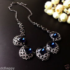 Five blue pendant gunmetal short necklace UK seller