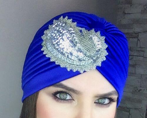 Unique Women Bonnet Cancer Chemo Hijab Turban Cap Beanie Sequins Hat !